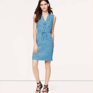 Ann Taylor LOFT Blue Charm Print Notched Dress